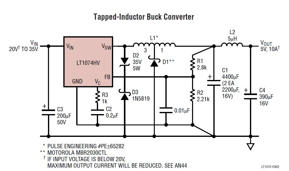 24v to 5v 10a power supply converter schematic diagram