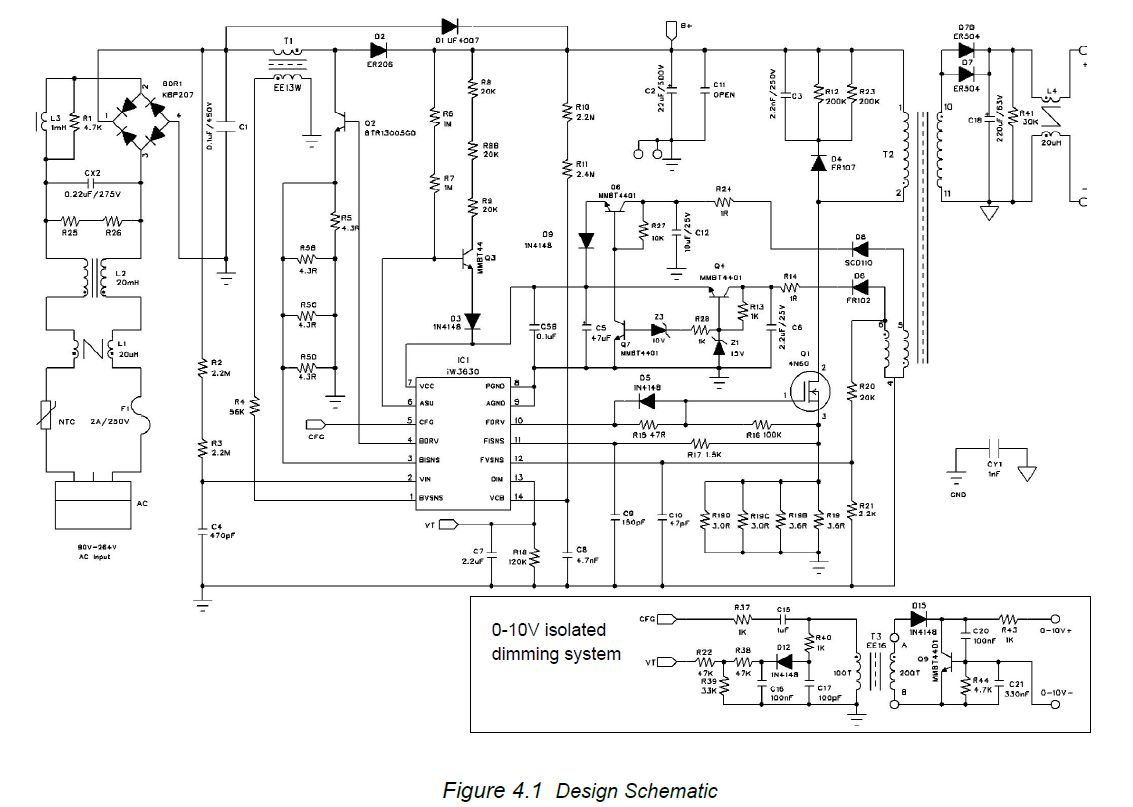AC 230V LED Driver Dimmer circuit    diagram    010V or