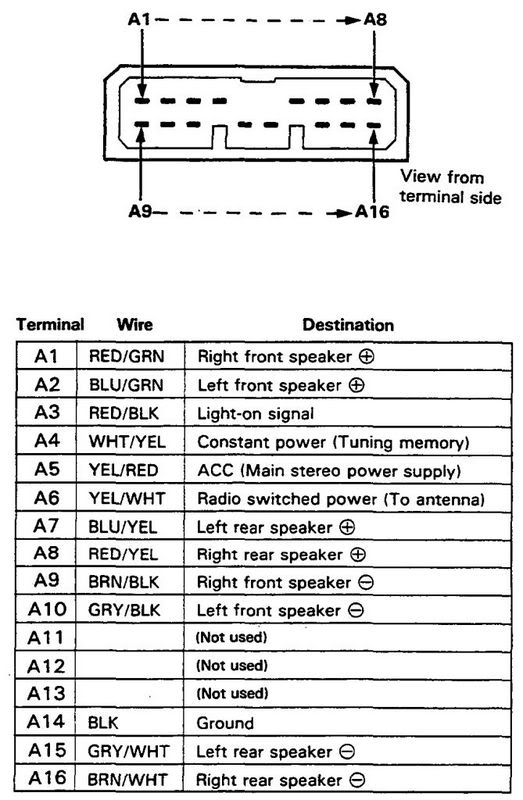 Honda Prelude Car Stereo Wiring Diagram Harness Pinout Connector