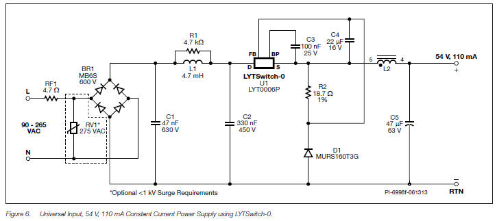 Non-Isolated LED Lighting circuit diagram Off-Line Switcher