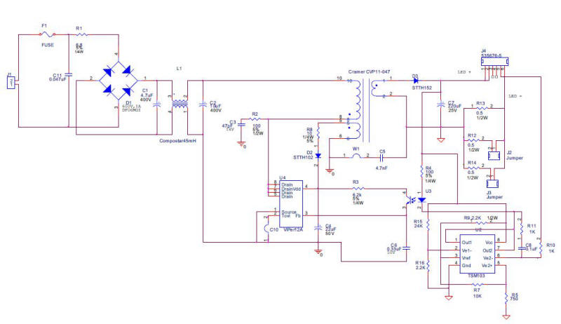 White LED driver constant current isolated offline circuit diagram