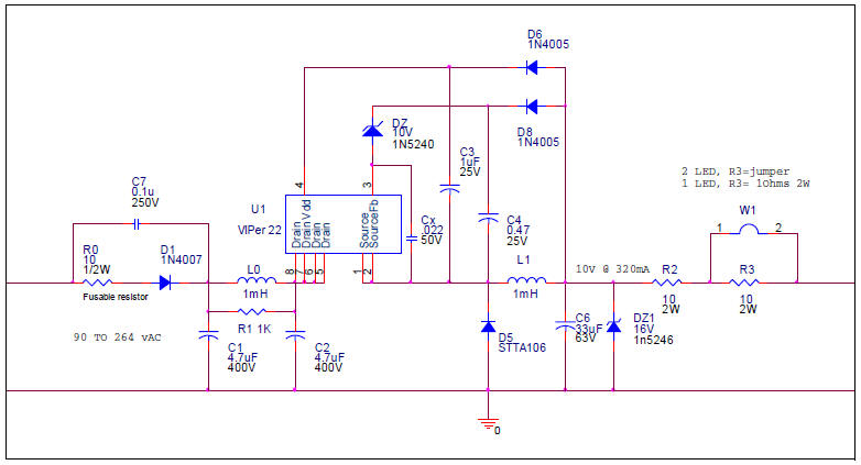 White LED driver constant current non isolated 230V circuit diagram